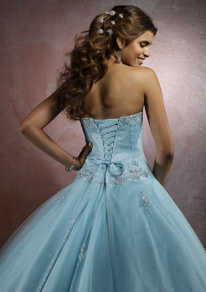 Blue Sweetheart Long/Floor-length Tulle Baby Quinceanera Dress QD2647 at Dressmini.com