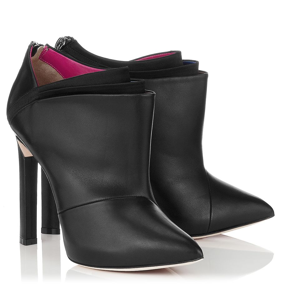 Black nappa and multi coloured folded satin ankle booties