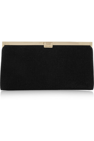 metallic mesh clutch black bag