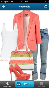 bag,jacket,purse,coral,teal,salmon,coloured,high heels,jeans,shoes,tank top,coat,peach blazer,blazer,sweater,cropped sweater,nude