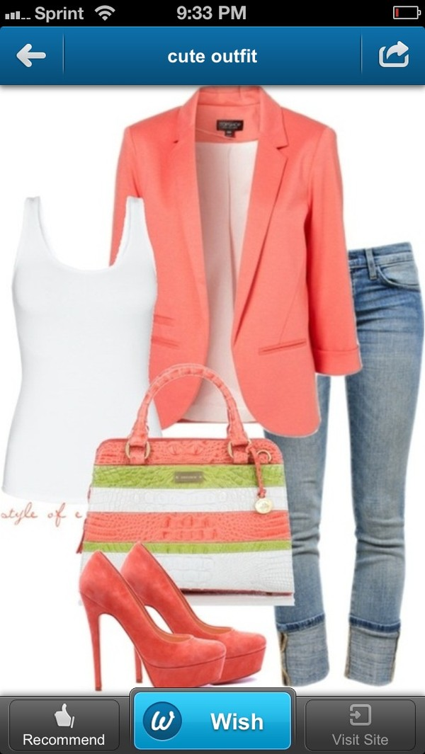 bag jacket purse coral teal salmon coloured high heels jeans shoes tank top coat peach blazer blazer