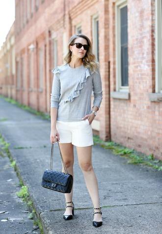 pennypincherfashion blogger blouse shorts shoes bag jewels white shorts ruffle pumps black bag