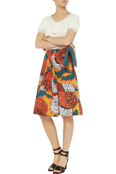 skirt printed cotton skirt cotton skirt orange midi skirt floral marni faithful leather clutch clutch anya hindmarch bag