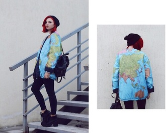blouse vest world map blue yellow black pretty girl cool hipster jeans trouser