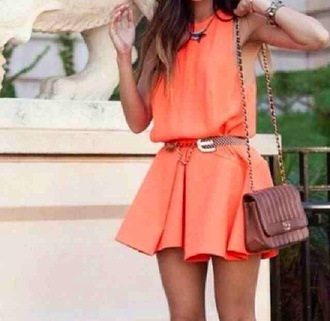 dress orange wedding skater girly bold tight baggy bag sundress cel party gathering dress up sun shopping out