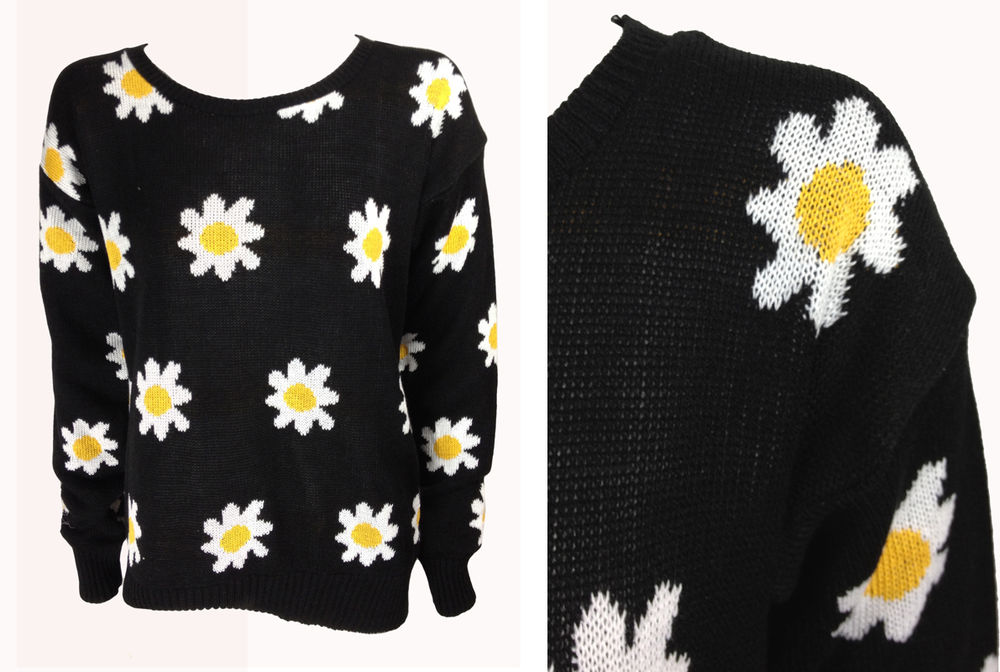 New ladies black daisy print long sleeve knitted scoop neck jumper size 6