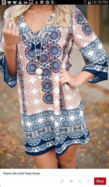 dress pink and blue dress patterned dress 3/4 sleeves mid thigh dress