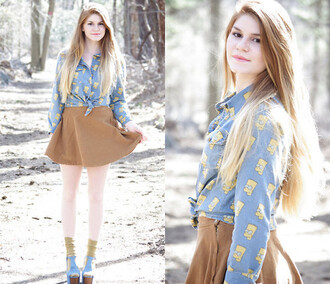 blouse brown beige skater skirt fall outfits bart simpson denim jacket lookbook blogger it girl shop casual grunge girly