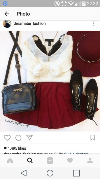skirt red dress red skirt red mini mini skirt jumper knitwear cream cream sweater sweater red hat oversized sweater black black top baggy sweaters loose fit sweater white cute cute skirt cute outfits cute outfit for teens dolly shoes