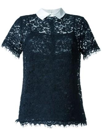 blouse short lace blue top
