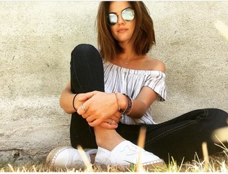 blouse lucy hale aria montgomery stripes t-shirt off the shoulder top white top striped top chanel shoes chanel espadrilles chanel sunglasses jeans blue jeans black jeans white shoes espadrilles shoes summer summer outfits outfit celebrity pretty little liars