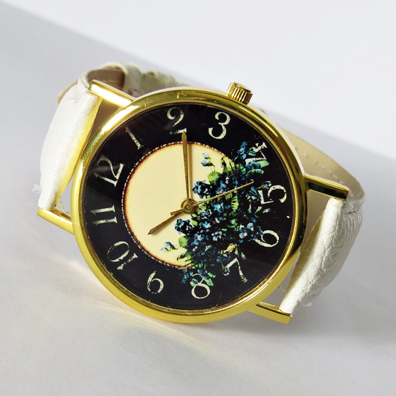 Floral Watch , Vintage Style Leather Watch, Women Watches, Blue flowers, Boyfriend Watch,