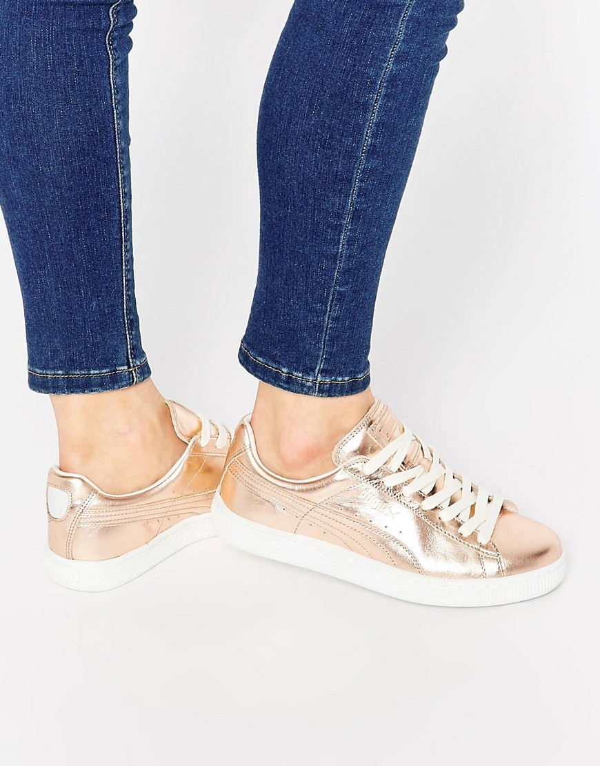 the best attitude e30a3 741af Puma Basket Trainers In Rose Gold Metallic at asos.com