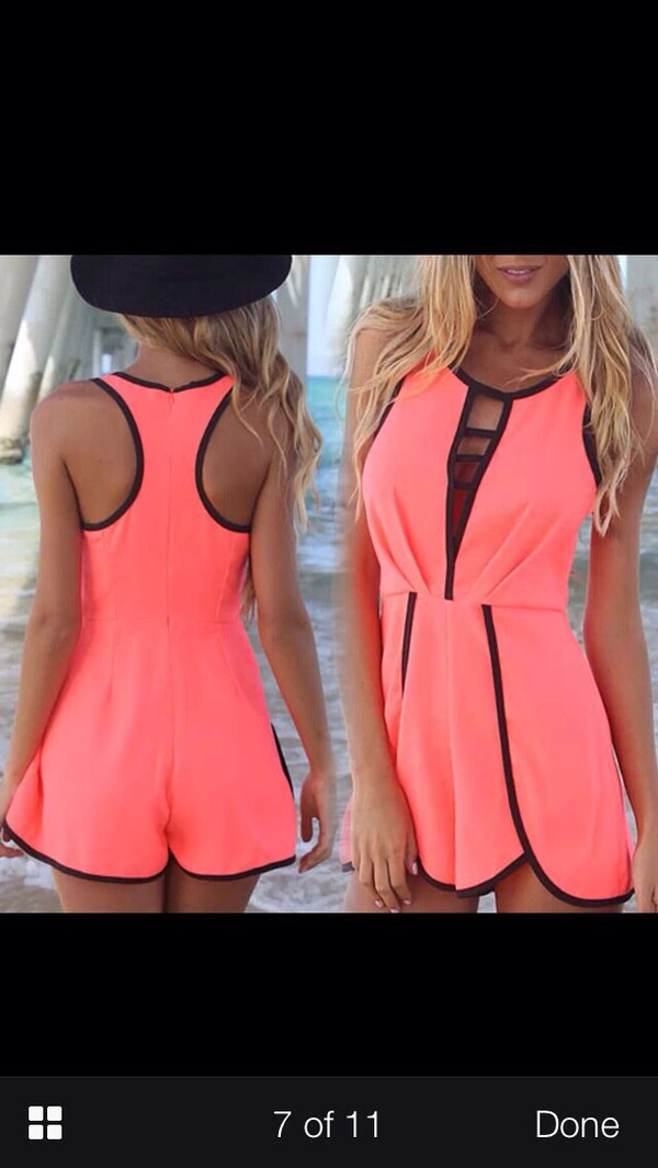 jumpsuit neon pink black ladder dress