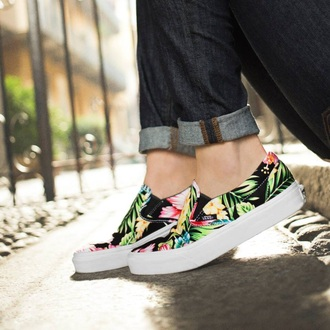 shoes floral vans sneakers slip on shoes fashion