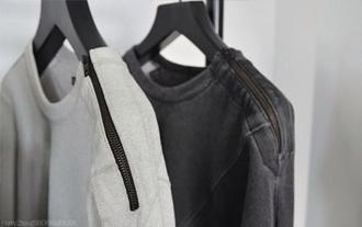 sweater zip grey black shirt white