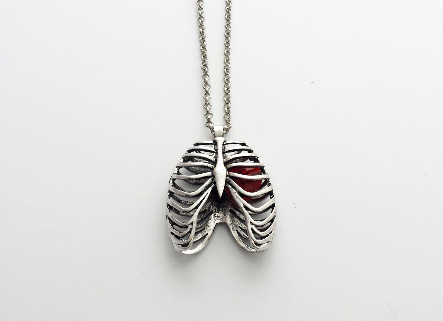 Anatomical rib cage with heart necklace // stainless steel // unisex skeleton necklace // dark mori // gothic necklace