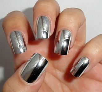 nail polish nails silver shiny nails metallic nails