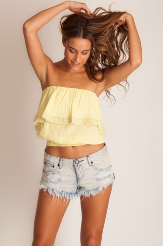 shirt curly hair yellow yellow top summer girly high waisted shorts tube top strapless lace