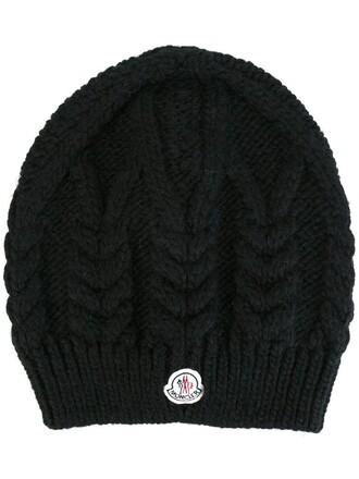 knit women hat beanie black wool