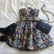 dress,fashion,waist belt,jewels,bag,shoes,dress belt heels,floral,strapless,top,tank top,corset dress,bustier dress,corset,belt,metal,gold,gold belt,gold studs,floral dress,a line dress,punk,chic,grunge,black,black heels,suede heels,chanel,purse,handbag,chanel bag,crossbody bag,gold studded belt,flowers,yellow,print,vintage,green dress,cute floral dress
