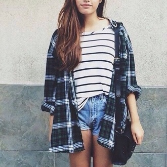 shirt striped shirt style tumblr outfit outfit flannel shirt plaid shirt