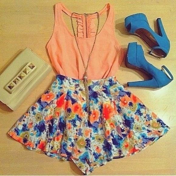 floral skirt blouse orange blouse blue high heels necklace tank top coral tank detailed back ruffles dress skirt blue skirt girly clutch white studded clutch ribbon bows floral details high heels bag shirt flower print, summer, heels floral skirt, short length, flowy shorts bright colourful