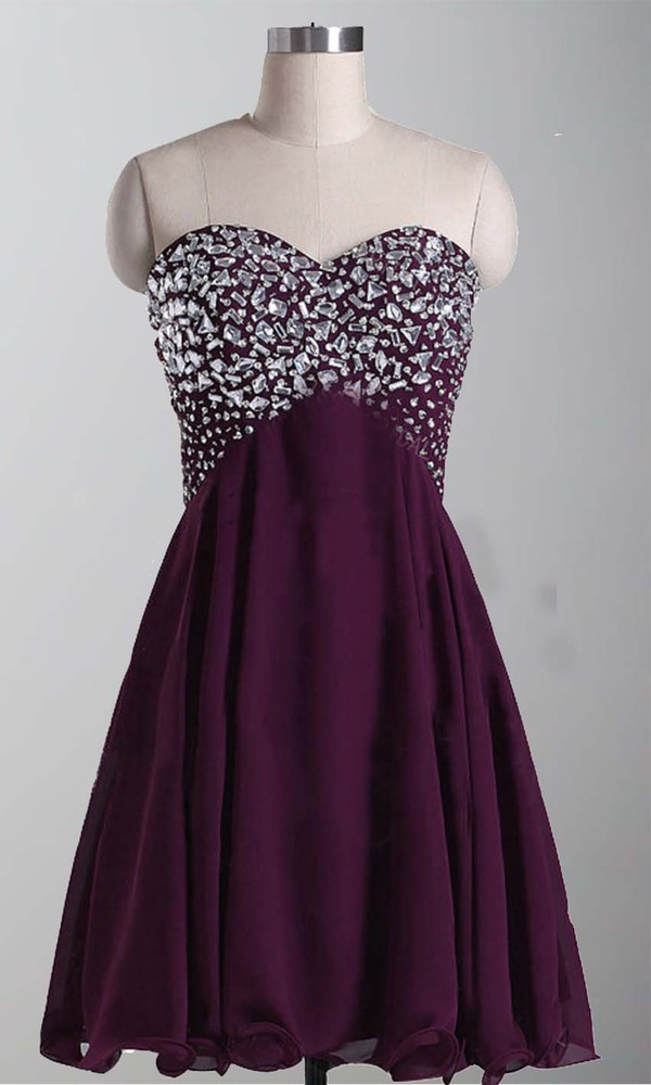 short prom dress short party dresses purple dress aubergine sequin prom dress sweetheart neckline empire waist cocktail dress corset top corset dress chiffon