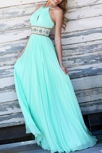 dress blue dress prom dress light blue long dress sleeveless dress turquoise maxi dress chiffon pleated halter neck halter dress boho chic pretty mint mint dress aqua girly long blue trendy homecoming dress summer elegant classy prom sherri hill
