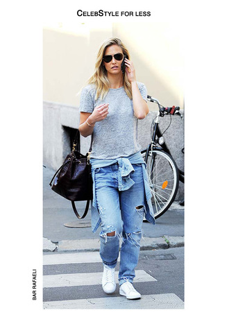 t-shirt grey t-shirt boyfriend jeans ripped jeans denim shirt white sneakers bucket bag bar refaeli model casual jeans shirt shoes bag black leather bag black bag light blue celebstyle for less light blue boyfriend jeans