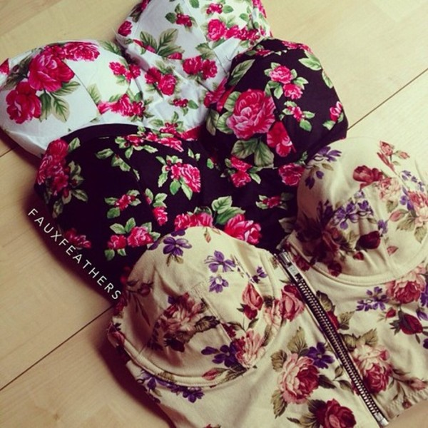 shirt flowers tank top buister flowers black white pink creme bustier bralette bralette floral vintage cute girly hipster summer blouse roses high waisted summerhype summerlife top floral tube top tube top zip up