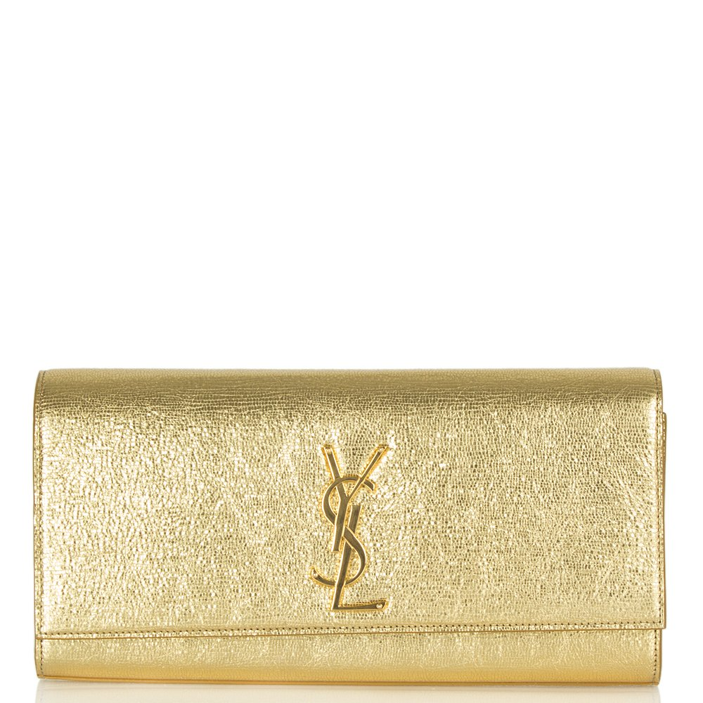 b6f6f51f663de Saint Laurent Gold Metallic Cassandre Clutch Bag