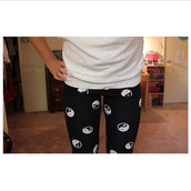 pants,leggings,yin yang,ying yang leggings