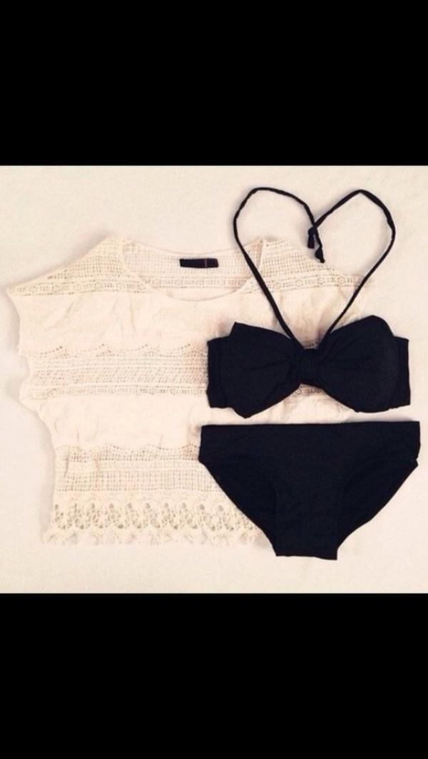 swimwear black black bikini bikini black cute bikini bikini bikini bows bow black bow bow bikini bow bikini t-shirt girly beach summer outfits cute