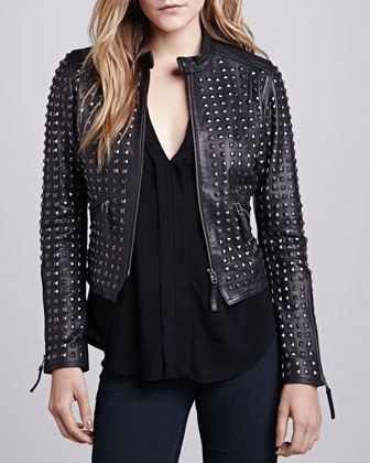 LaMarque Studded-Front Leather Jacket - Neiman Marcus