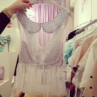 tank top purple print white lace transparent top tumblr kitchie kawaii pastel cute collar vintage cool shirts cool girl style cool amazing cute  outfits