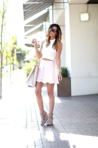 for all things lovely blogger jewels white top white skirt mini skirt louis vuitton louis vuitton bag grey heels wedges