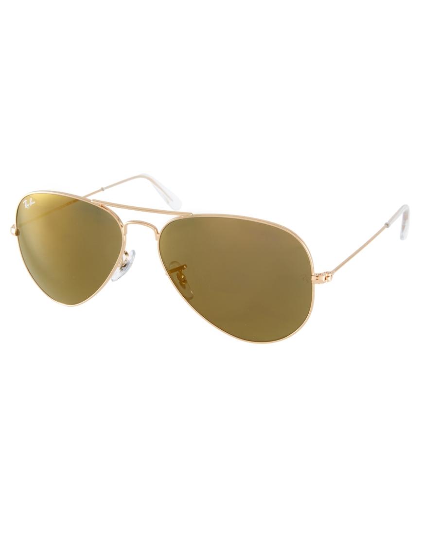 Ray-Ban Crystal Gold Mirrored Aviator Sunglasses at asos.com