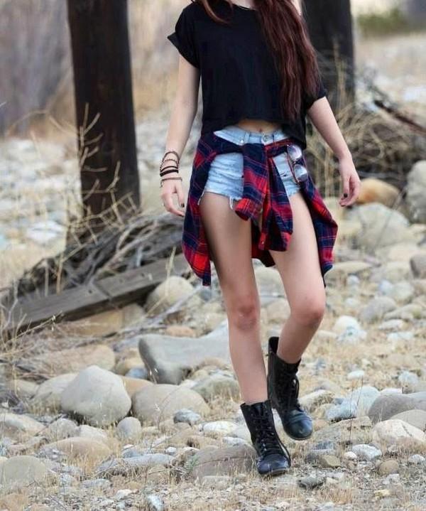 skirt punk rock black shirt rock flannel shoes