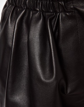 Asos leather shorts with high waist detail at asos