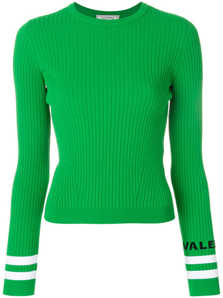 Valentino top ribbed top women green