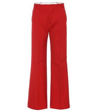 pants wide-leg pants cotton red