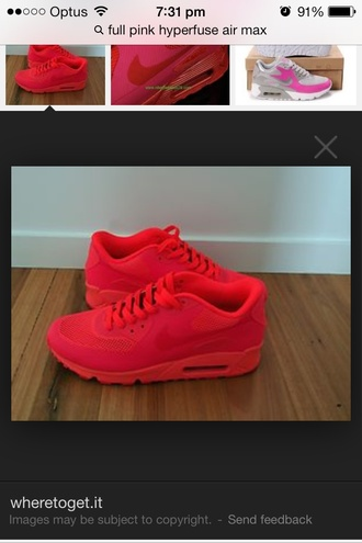 shoes nike air max 90 hyperfuse full pink