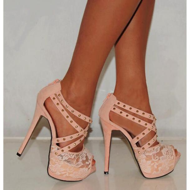 a2cc74e43cf Studs Pink High Heels - Shop for Studs Pink High Heels on Wheretoget