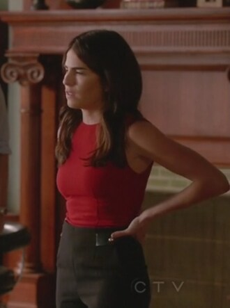tank top red pants sleeveless how to get away with murder karla souza laurel castillo high waisted