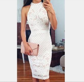 dress white lace dress lace dress mid length dress midi dress white white dress pretty