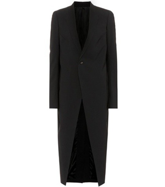 Rick Owens coat wool coat soft wool black