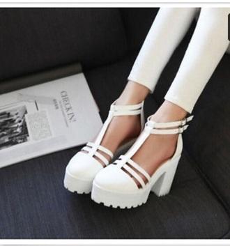 shoes high heels heels platform shoes white ankle strap