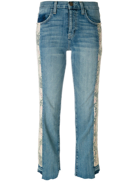 Current/Elliott jeans cropped women spandex floral cotton blue 24
