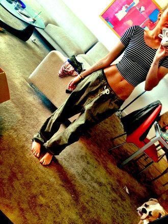 pants miley cyrus stripes khaki pants american apparel shirt